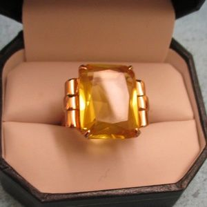 Sterling Vermeil Citrine Ruby Statement Ring~8.5